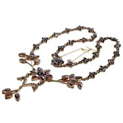 Antique Victorian Bohemian Garnet Floral Brass Necklace