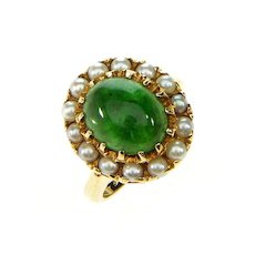 Antique Victorian Jadeite Jade & Pearls Gold Halo Ring Size 3.25