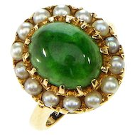 Antique Victorian Jadeite Jade & Pearls Gold Halo Ring Size 3.25