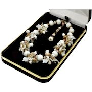 Vintage 30's Venetian Murano Hand Blown Milk Glass Birds Necklace