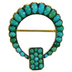 Antique Victorian Natural Turquoise 9K Gold Pin Brooch