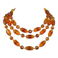 Vintage Louis Rousselet French Cognac Poured Glass 3-strand Necklace