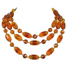 Vintage Louis Rousselet French Cognac Poured Glass 3-strand Necklace