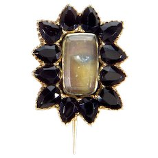 Antique Georgian Lover's Eye 14K Rose Gold Onyx Brooch Pin