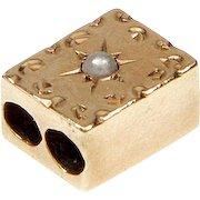 Antique Victorian 10K Rose Gold Engraved Seed Pearl Slide Bracelet Charm