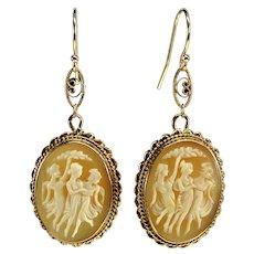 Antique Victorian 14K Gold Filigree Three Graces Cameo Dangle Earrings