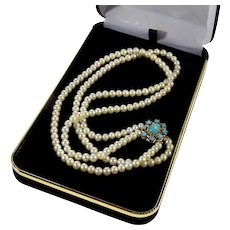 Vintage 14K Gold Persian Turquoise Clasp Cultured Pearl Necklace