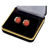 Vintage Italian 14K Gold Salmon Coral Button Lever Back Earrings