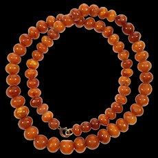 Antique Butterscotch Egg Yolk Baltic Amber Hand Cut Round Bead Necklace