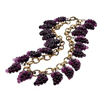 Vintage Miriam Haskell French Poured Glass Grape Clusters Necklace
