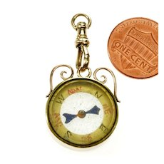 Antique Victorian 10K Rose Gold Compass Dog Clip Fob Pendant