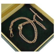 Antique Victorian 10K Gold Albert Slide Dropper Pocket Watch Chain