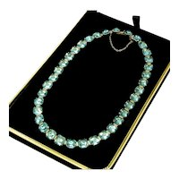 Art  Deco Aquamarine Pastes Sterling Riviere Necklace Signed L&M