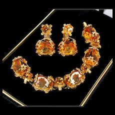 Vintage Victorian Revival Intaglio Cameo Citrine Glass Bracelet Earrings