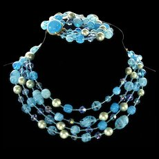 Louis Rousselet French Aqua Blue Woven Glass Bead Necklace Bracelet Set