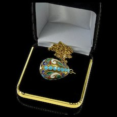 Antique Russian Champleve Enamel Sterling Easter Egg Pendant Necklace