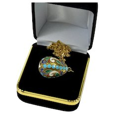 Antique Russian Champleve Enamel Sterling Egg Pendant Necklace