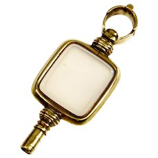 Antique Victorian 9K Yellow Gold Rose Quartz Watch Key Fob Pendant