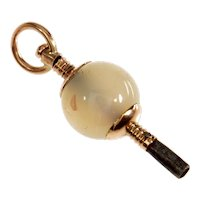 Antique Victorian 9K Rose Gold Rose Quartz Watch Key Fob Pendant