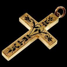 Antique Victorian 9K Rose Gold Taille d'Epargne Black Enamel Cross Pendant