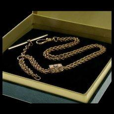 Antique Victorian 10K Gold Albert Hand Carved Slide Dropper Pocket Watch Chain