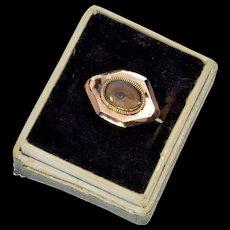 Antique Georgian Lover's Eye 10K Rose Gold Brooch Pin