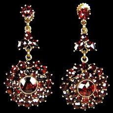 Antique Art Deco Bohemian Garnet Dangle Earrings Signed Czechoslovakia