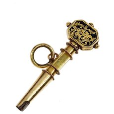 Antique Georgian 14K Yellow Gold Black Enamel Watch Key Pendant Charm Fob
