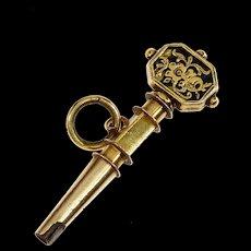Antique Georgian 14K Yellow Gold Black Enamel Watch Key Pendant Charm Fob