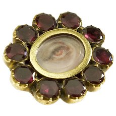 Antique Georgian Lover's Eye Almandine Garnet Gold Cased Brooch Pin
