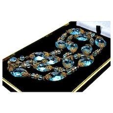 Vintage 40's Miriam Haskell Aquamarine Glass Filigree Brass Double Strand Necklace