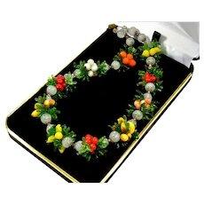 Vintage 30's Venetian Murano Hand Blown Fruit Salad Glass Necklace