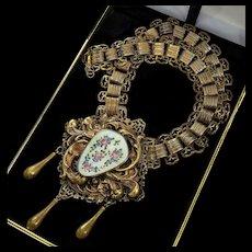 Vintage 30's Victorian Revival Guilloche Repousse Book Chain Necklace By Designer
