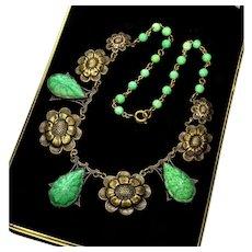 Vintage 20's Art Deco Max Neiger Czech Jade Pressed Glass Brass Necklace