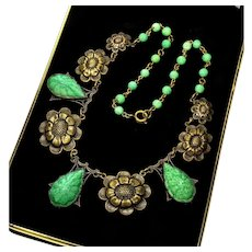 Vintage 20's Art Deco Max Neiger Czech Jade Pressed Glass Brass Necklace