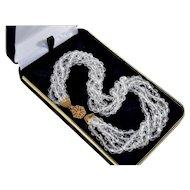 MIriam Haskell Sparkling Crystal 5-strand Torsade Necklace