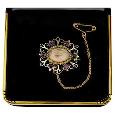 Antique Georgian Lover's Eye 14K Gold Amethyst Pastes Brooch Pin