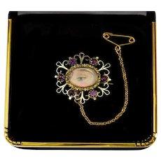 Antique Georgian Lover's Eye 14K Gold Amethyst Pastes Brooch Pin