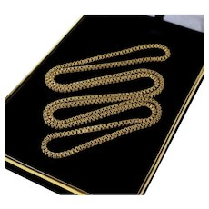 Antique Victorian Embossed Gold Filled Guard Box Chain Endless Necklace