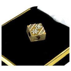 Antique Victorian 12K Rose & Yellow Gold Engraved Slide Bracelet Charm
