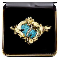 Antique Georgian Rococo 14K Natural Turquoise Seed Pearl Brooch Watch Pin