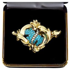 Antique Victorian 14K Natural Turquoise Seed Pearl Brooch Watch Pin