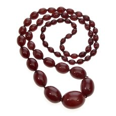 Vintage Art Deco Cherry Amber Bakelite Faturan Bead Necklace