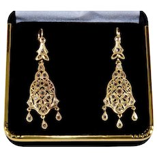 Antique Edwardian Etruscan Revival 14K Rose Gold Diamonds Dangle Earrings