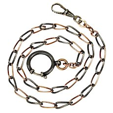 Antique Victorian Niello Black Enamel Silver & Rose Gold Gilt Watch Chain Necklace Dog Clip