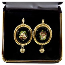 Antique Victorian Grand Tour Italian Micro-Mosaic Earrings 14K Gold