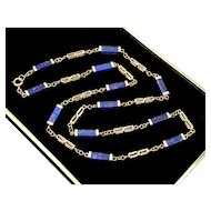 Art Deco 10K Gold Lapis Lazuli Stationary Necklace