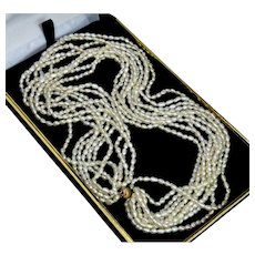 Vintage High Quality Cultured Pearl Multi-Strand Torsade Necklace 14K Gold Clasp
