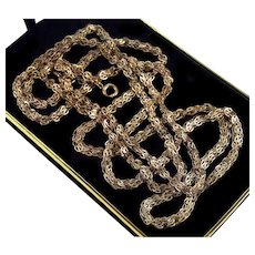 """Antique Victorian Gold Filled Fancy Link Guard Muff Chain Necklace 64"""""""