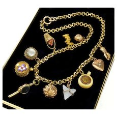 Antique Victorian 11-Charm Pendants GF Gold Filled Necklace